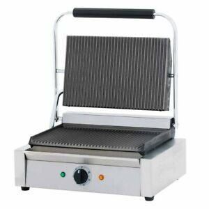 Cookline Pg 1 Single Commercial Panini Sandwich Press Grooved Surface 120v