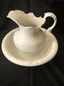 Rare Antique C P Co Crown Pottery Co Wash Basin And Pitcher