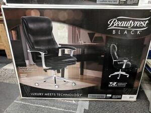 New Sealed Beautyrest Black Leather Executive Office Chair Model 49650 350lbs