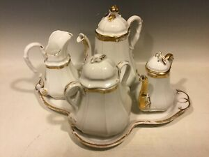 Antique Old Paris French Porcelain Tea Set Tray 2 Teapots Sugar Creamer