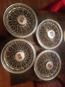 1980 1987 Olds Oldsmobile Cutlass Supreme 14 Wire Spoke Hubcaps Wheel Covers