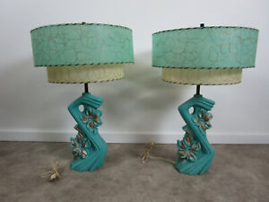 Pair Of Turquoise Mid Century Lamps Retro Two Tier Blue Green Fiberglass Shades