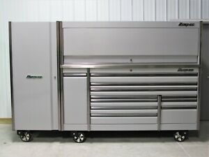 Snap On Arctic Silver 84 Epiq Tool Box Stainless Top Hutch Full Size Locker