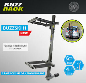 Buzzrack Buzzski Hitch Mounted Ski Snowboard Rack 6 Pairs Of Skis 4 Snowboards