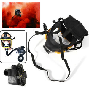 Electric Constant Flow Supplied Air Fed Full Face Gas Mask Respirator Free Ship