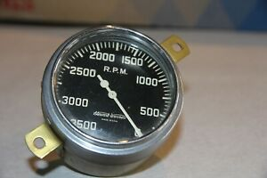 Stewart Warner Mechanical Curved Glass 3500 Rpm Rear Mount Script Tachometer