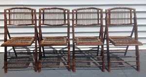 Vintage Faux Tortoise Shell Bamboo Rattan Folding Chairs Set Of 4 Mcm Coastal
