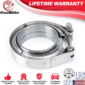 Universal Brand New 2 25 V Band Flange Clamp Kit Mild Turbo Exhaust Downpipe