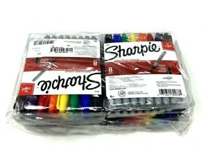 Lot 10 Packs Of 8 New Sharpie Permanent Markers Fine Point Assorted Colors