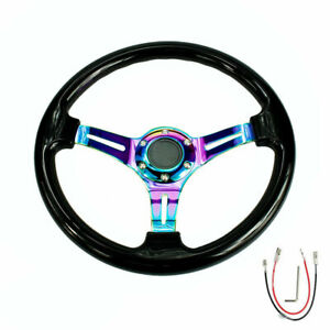 350mm 14 Universal Deep Dish Abs Racing Steering Wheel Black Neo Chrome