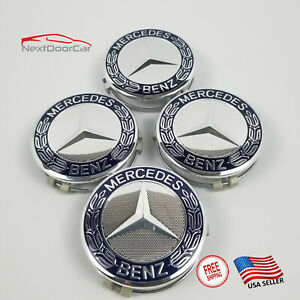 4 Pc Set Mercedes Benz Wheel Center Caps Emblem Dark Blue Wreath Hubcaps 75mm