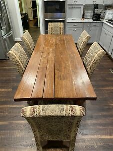 Antique Texas Mesquite Farmhouse Harvest Dining Table 8 Ft W 6 Chairs