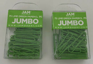 2 Boxes Jam Paper Colorful Jumbo Paper Clips Large 2 Inch Lime Green 75pcs