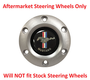 6 Hole Brushed Steering Wheel Horn Button Ford Mustang Emblem Tri Bar Pony Logo