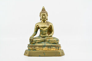 Vintage Thai Bronze Seated Buddha Statue 8 Inches Tall