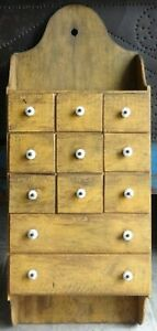 Oak 11 Drawer Spice Cabinet Mustard Painted Box Cupboard Apothecary Chest Aafa