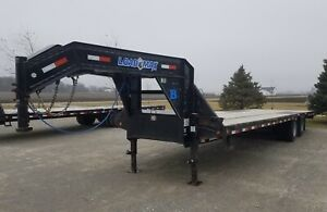 Flatbed Gooseneck Trailer 102x30 Straight Deck With Slide In Ramps Loadmax