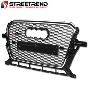For 2013 2017 Audi Q5 Rs Honeycomb Mesh Front Bumper Grill Grille Black chrome