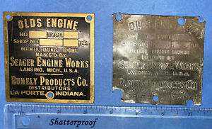 Tags For Olds Engine Rumely Products Co Seager Hit Miss Name Plate Brass