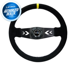 New Nrg 350mm Steering Wheel 3 Deep Dish 2 Spoke Black Suede Rst 022s Y