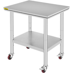 Rolling Stainless Steel Top Kitchen Work Table Cart Casters Shelving 30 x24