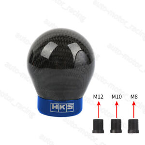 Hks Racing Real Carbon Fiber Black Blue Ball Manual Gear Shift Shifter Knob