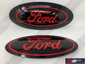 2015 20 Ford F150 Custom Grille Tailgate Oval Gloss Black Ua Gloss Race Red Pq