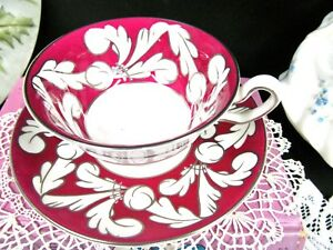 Wedgwood Tea Cup And Saucer Red Silver Pattern Teacup Art Deco Set England