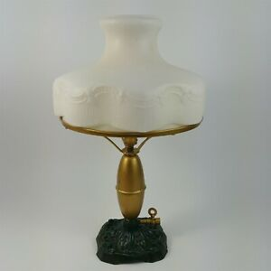 Victorian Gas Table Lamp White Shade Gold Body Green Base 17 1 2 Tall