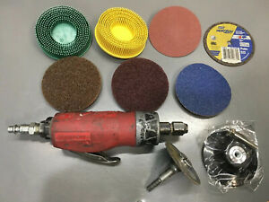 Snap On Straight Die Grinder Pt200 With 50 Valued Pads Disc