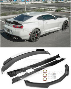 For 16 up Camaro Refresh Zl1 Track Front Lip Side Skirts Rear Wickerbill Spoiler