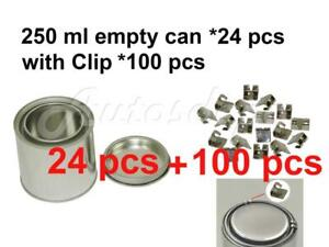 1 2 Pint 250 Ml Empty Metal Paint Can 24 Cans And Lids With Lock Clips 100pcs