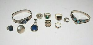 174g Lot Sterling Silver 925 950 Cuffs Rings Pendant Lapis Mexico Not Scrap