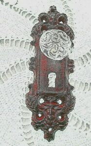 Vintage Style Cast Iron Door Plate With Acrylic Glass Knob Antique Dark Red