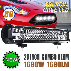 Tri row 20inch 1680w Cree Led Light Bar 8d Spot Flood Combo Truck Offroad 6000k