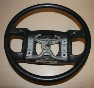 94 96 Ford F 150 E 350 Steering Wheel W buttons For Horn Black wear Marks