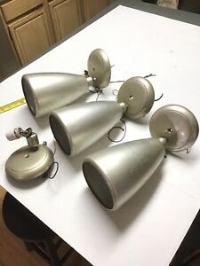 Lot Of 3 Vtg Amplex Swivelite Cone Industrial Wall Sconce Lamp Light Swivel Base