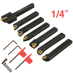 Carbide Indexable Tools Industrial Lathe Tools 1 4 inch For Lathe 7pcs In Black