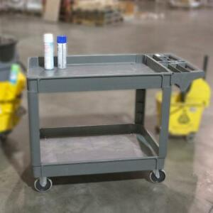 Extra large 2 shelf Heavy Duty 4 wheeled Utility Service Cart In Gray With