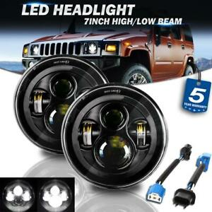 2x 7 Inch Led Headlights Hi Lo Projector Beam For Am general Hummer Land rover