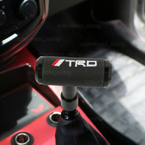 Trd Black Leather Shift Knob Aircraft Joystick Mt At Transmission Racing Gear