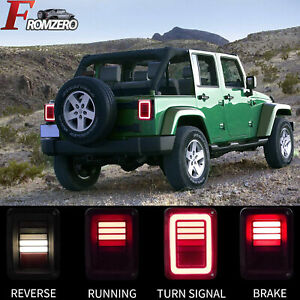For Jeep Wrangler Jk 07 17 2pcs Led Dynamic Tail Lights Smoked Brake Turn Signal