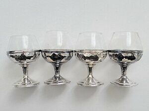Vintage Lot Of Four 4 925 Sterling Silver Cordial Glasses Hecho En Mexico