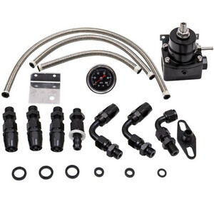 Universal Adjustable Fuel Pressure Regulator Kit 100psi Guage An 6 Fitting