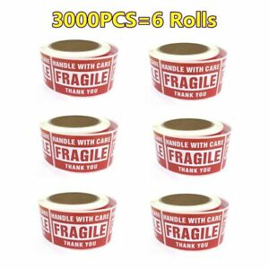 6 Rolls Fragile Labels 3x5 Handle With Care Thank You Stickers Shipping Warning