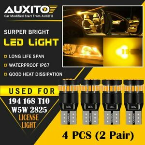 4 Pc Auxito Amber Yellow 168 194 921 License Side Marker Light Canbus Led Bulb D