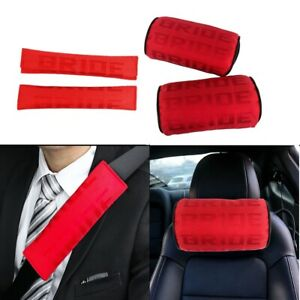 New 2pcs Jdm Bride Red Gradation Neck Headrest Pillow Car Seat Belt Cover Set