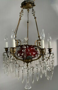 Antique French Victorian Porcelain Ormolu Bronze Crystal Chandelier Sevres Style