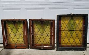 Lot Of 3 Vintage Antique Leaded Stained Glass Farmhouse Windows Pickup Only