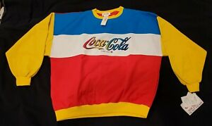 Vintage Coca Cola sweatshirt red white yellow blue large NEW WITH TAGS 1980s